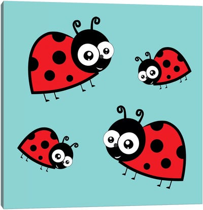 Lady Bug Blue Canvas Art Print