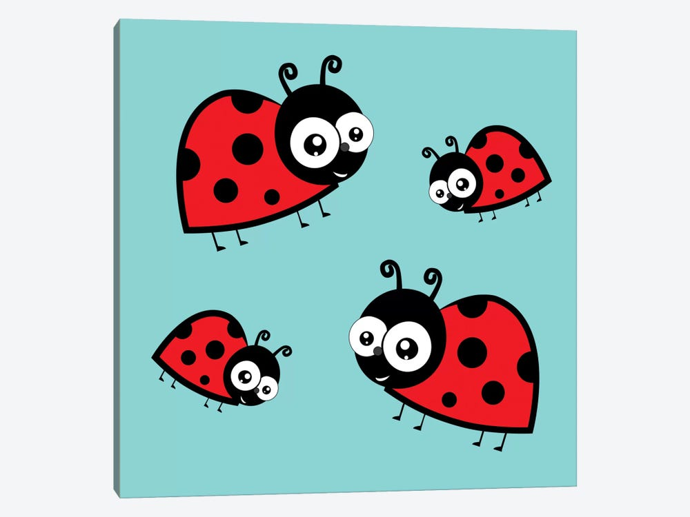 Lady Bug Blue 1-piece Canvas Artwork