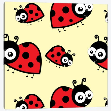Lady Bug Yellow Canvas Print #KID43} by 5by5collective Canvas Art