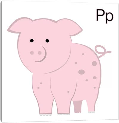 P is for Pig Canvas Art Print