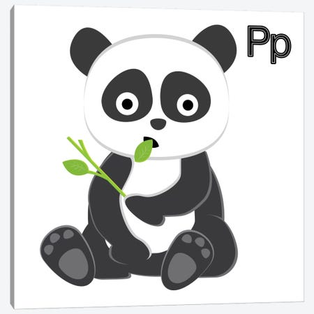 P is for Panda 3-Piece Canvas #KID6} by 5by5collective Canvas Artwork