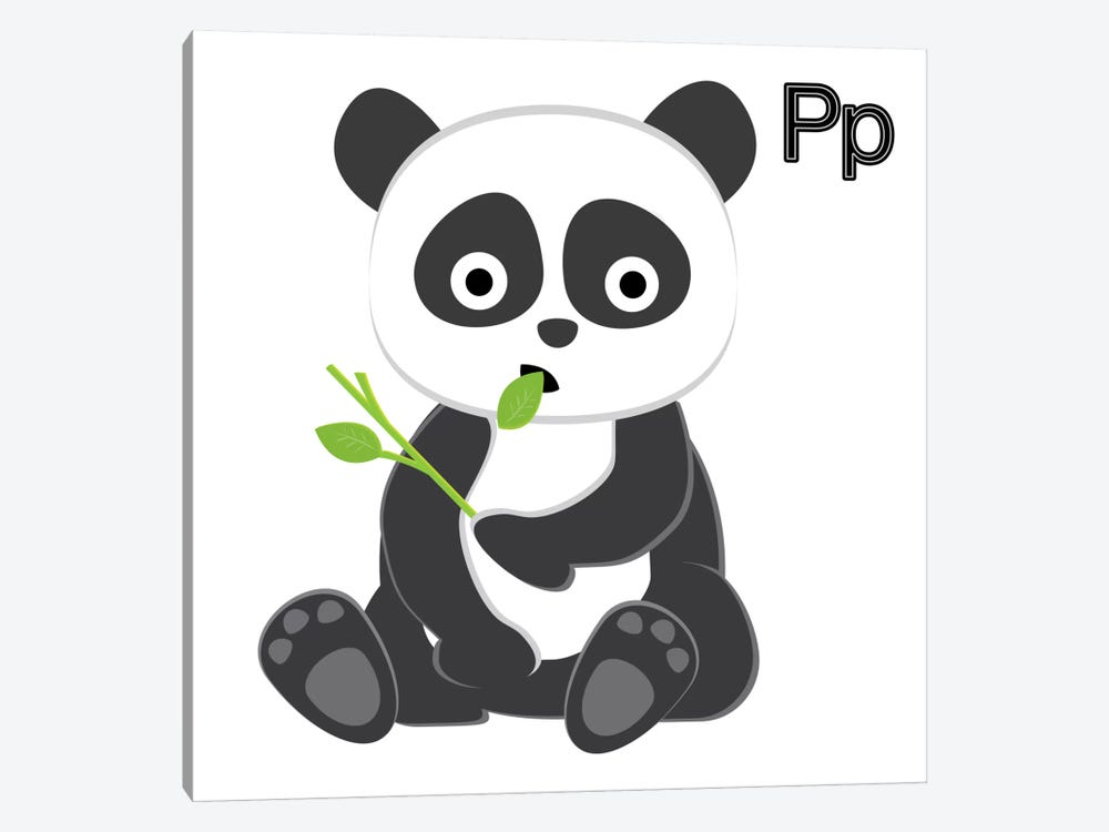 P is for Panda by 5by5collective 1-piece Canvas Art