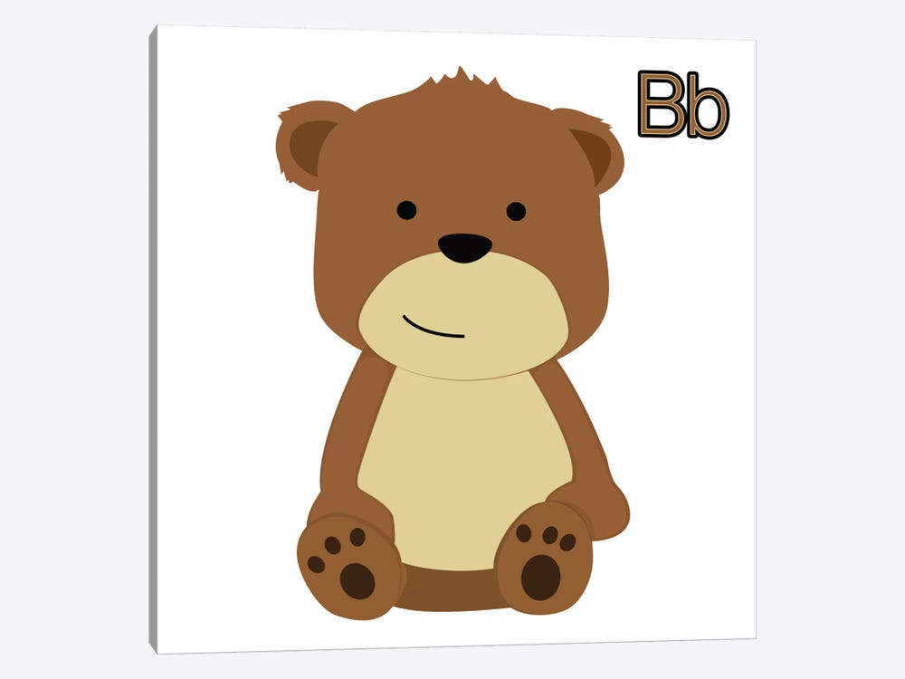 B is for Bear by 5by5collective 1-piece Canvas Art
