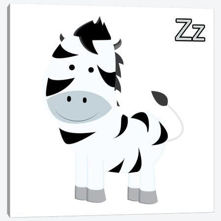 Z is for Zebra Canvas Print #KID9} by 5by5collective Canvas Art Print