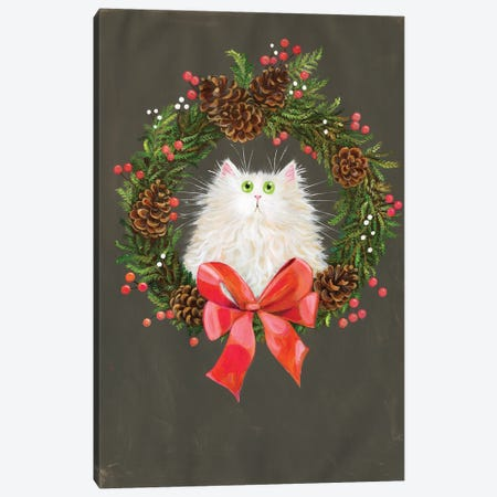 Festive Wreath White Cat Canvas Print #KIH106} by Kim Haskins Canvas Art