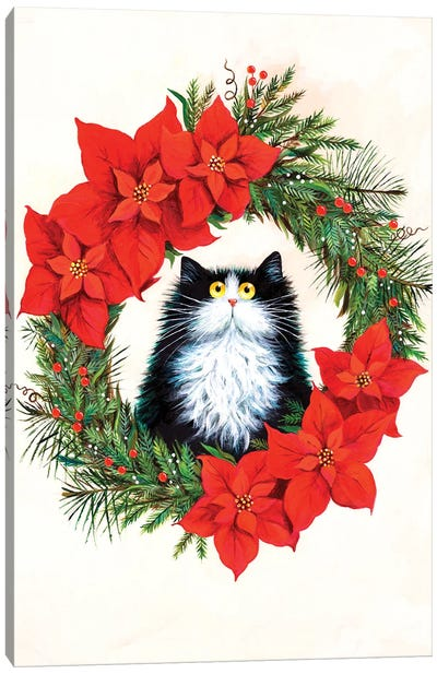 Black And White Cat In Poinsettia Wreath Canvas Art Print