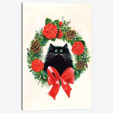 Black Cat In Rose Wreath Canvas Print #KIH108} by Kim Haskins Art Print