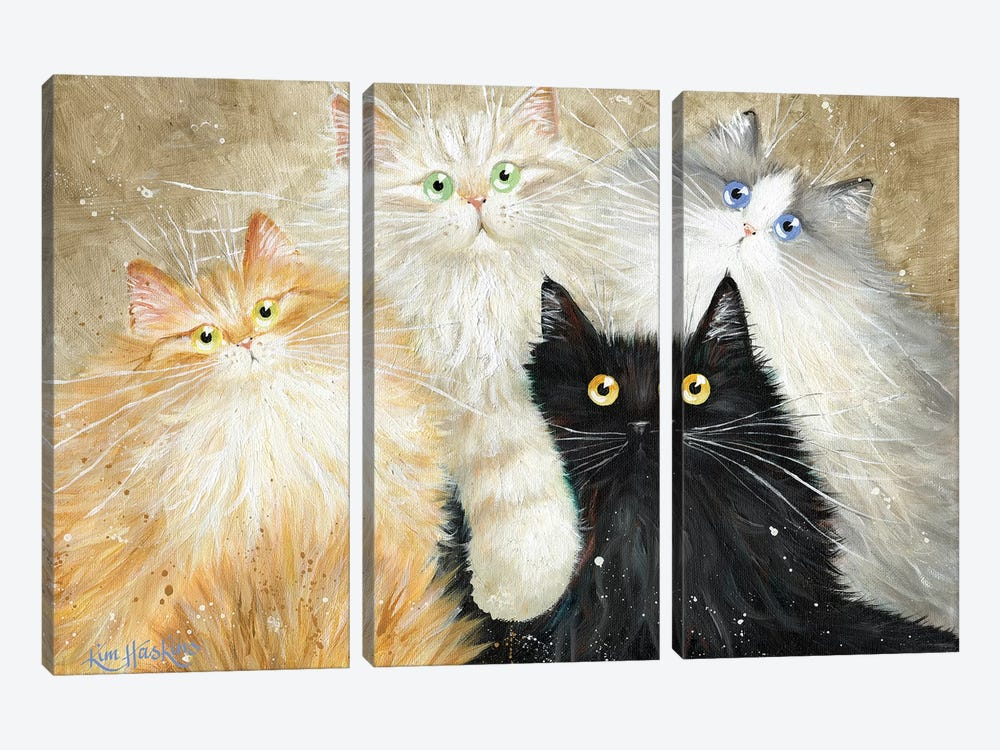 Die Flauschige Bande (The Fluffy Gang) by Kim Haskins 3-piece Canvas Wall Art