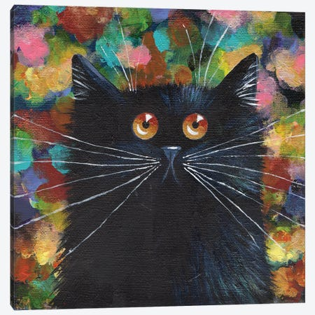 Sparkle Black Cat Canvas Print #KIH123} by Kim Haskins Art Print