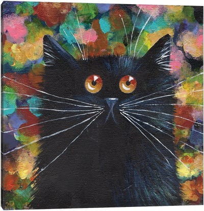 Sparkle Black Cat Canvas Art Print
