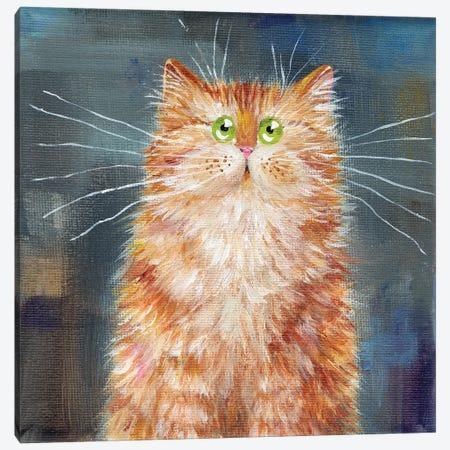 Ginger Cat On Denim Canvas Print #KIH129} by Kim Haskins Art Print