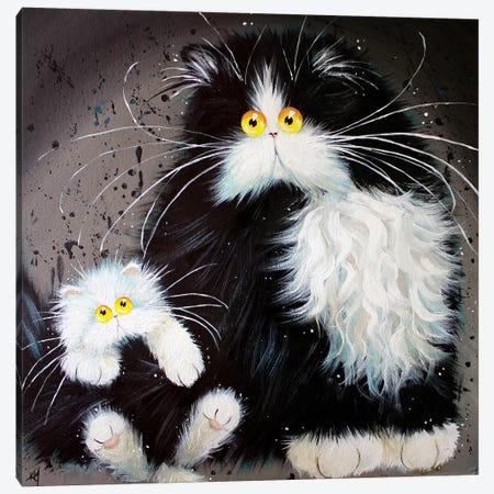 Tail Of Two Kitties Canvas Print #KIH59} by Kim Haskins Canvas Art Print