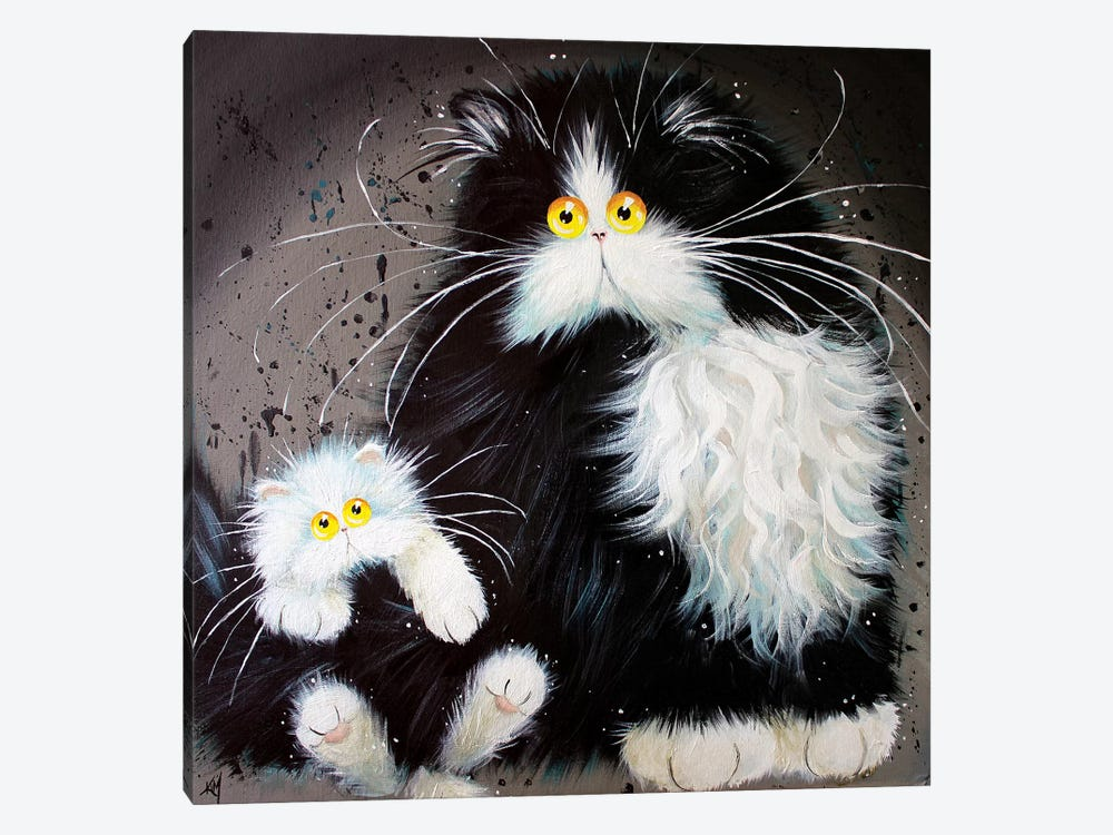 Tail Of Two Kitties by Kim Haskins 1-piece Canvas Wall Art