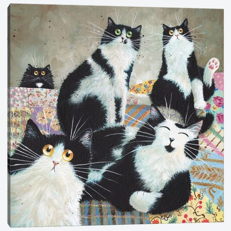 Patchwork Cats Canvas Print #KIH67} by Kim Haskins Art Print