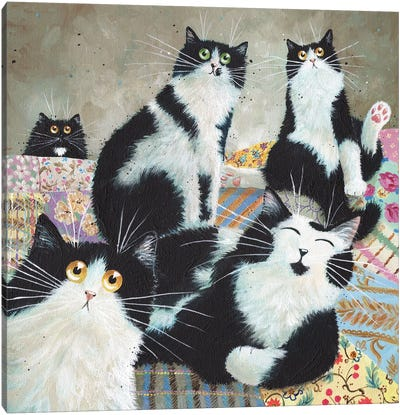 Patchwork Cats Canvas Art Print