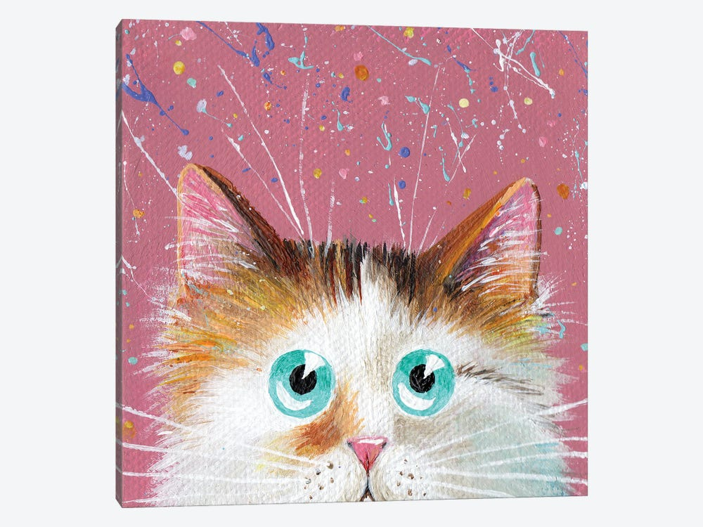 Peeping Tortie On Splattered Pink by Kim Haskins 1-piece Art Print