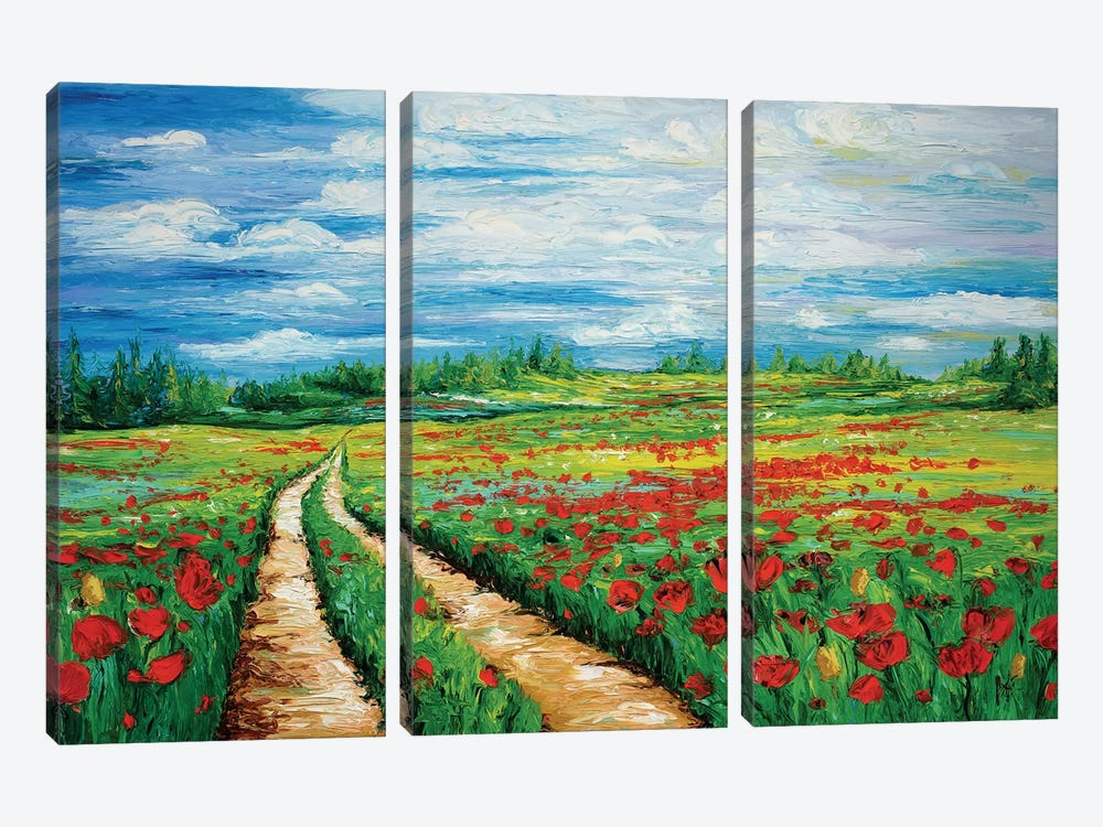 Pathway To Tranquility by Kimberly Adams 3-piece Canvas Art Print