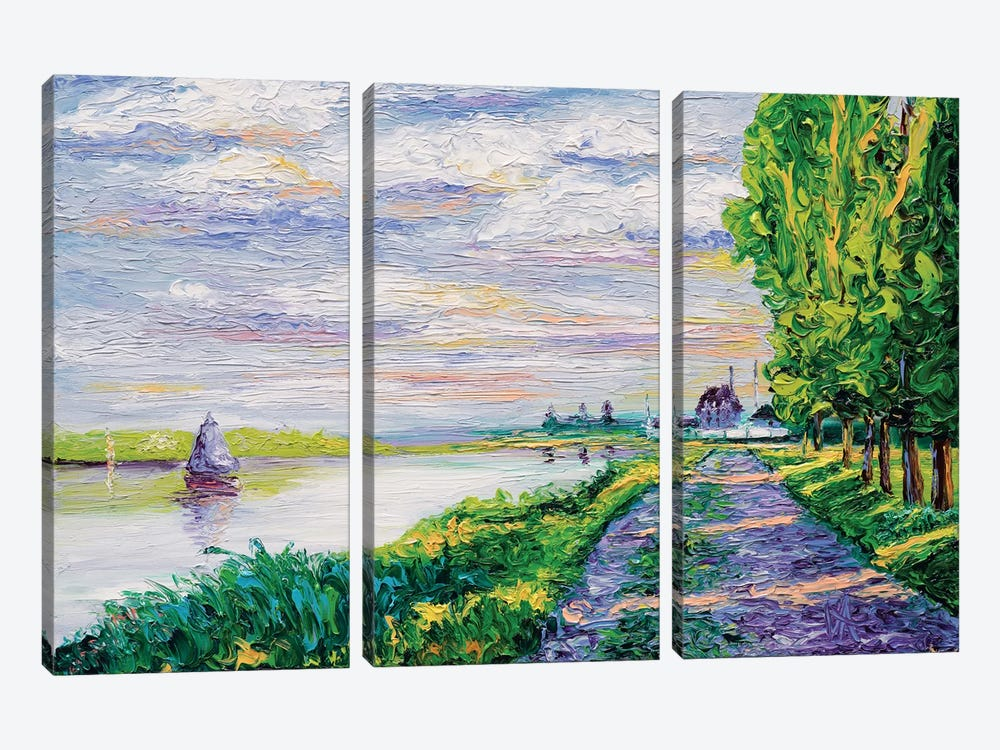 Afternoon Light (Tribute To Monet) by Kimberly Adams 3-piece Canvas Art