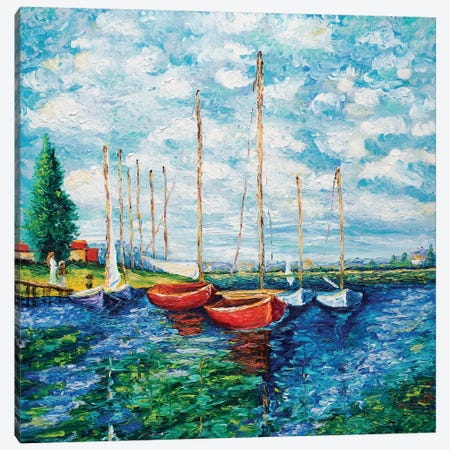 Red Boats (Tribute To Monet) Canvas Print #KIM22} by Kimberly Adams Canvas Art Print