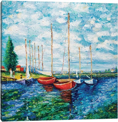 Red Boats (Tribute To Monet) Canvas Art Print