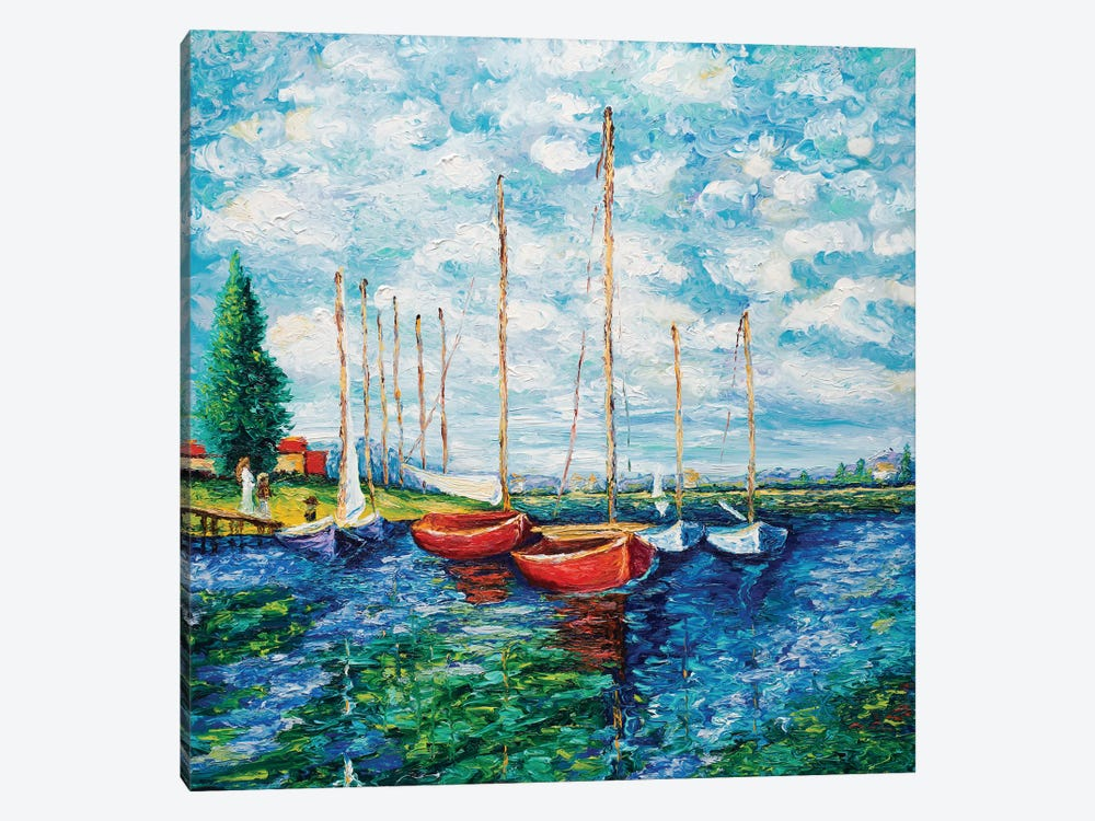 Red Boats (Tribute To Monet) by Kimberly Adams 1-piece Canvas Art