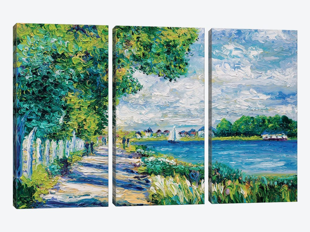By The Sea (Tribute To Monet) by Kimberly Adams 3-piece Canvas Art Print