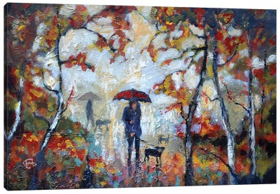 A Kiss In The Park Canvas Art Print