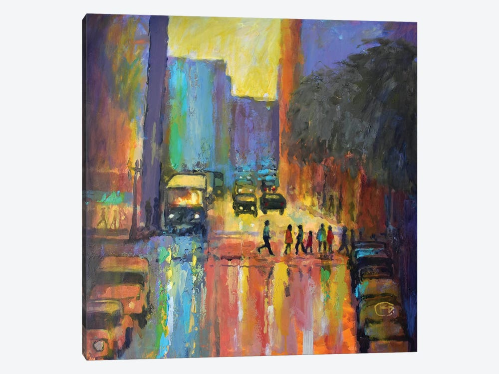 City Crosswalk I by Kip Decker 1-piece Canvas Art Print