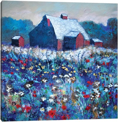 Flowers By Red Barn Canvas Art Print