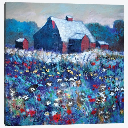 Flowers By Red Barn Canvas Print #KIP136} by Kip Decker Canvas Print