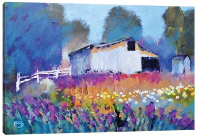 Barn With Iris II Canvas Art Print