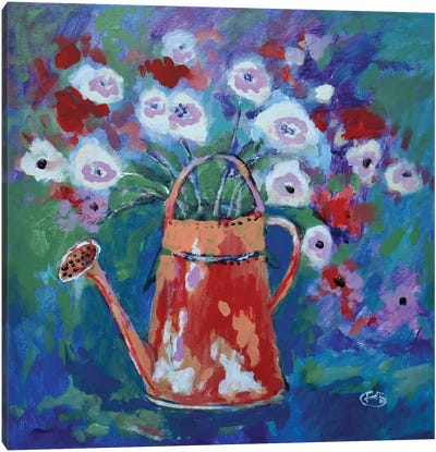 Watering Can With Flowers Canvas Art Print