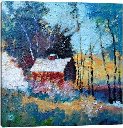 Barn In The Woods Canvas Art Print