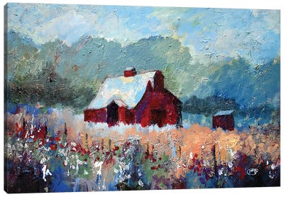 Barn In The Meadow Canvas Art Print