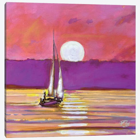 Moonlight Sailing Canvas Print #KIP26} by Kip Decker Canvas Print