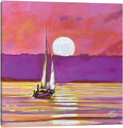 Moonlight Sailing Canvas Art Print