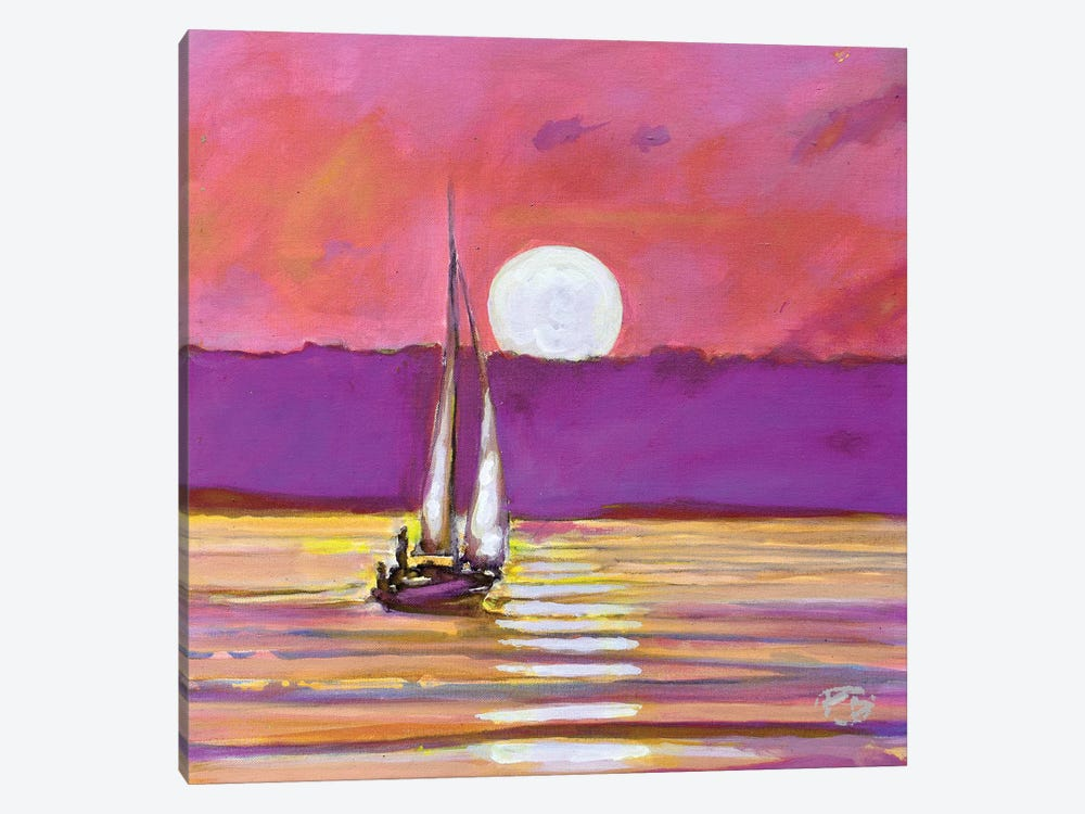 Moonlight Sailing by Kip Decker 1-piece Canvas Art