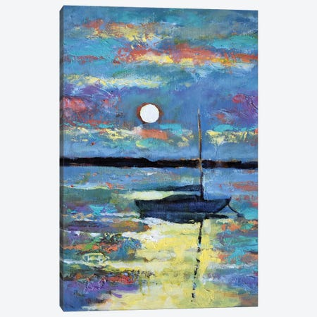 Moon Over A Sailboat Canvas Print #KIP27} by Kip Decker Canvas Art Print