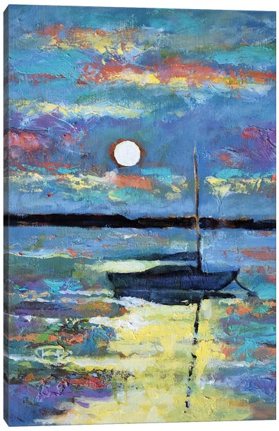 Moon Over A Sailboat Canvas Art Print