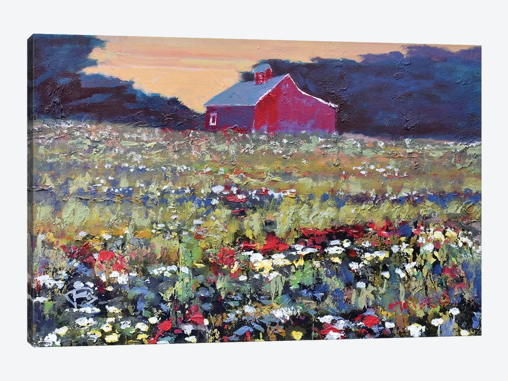 Red Barn And Flowers by Kip Decker 1-piece Canvas Artwork