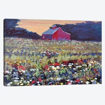 Red Barn And Flowers Canvas Print #KIP35} by Kip Decker Canvas Art