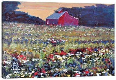 Red Barn And Flowers Canvas Art Print