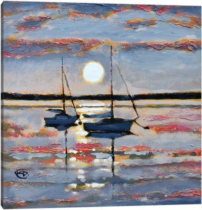 Full Moon Sailboats Canvas Art Print