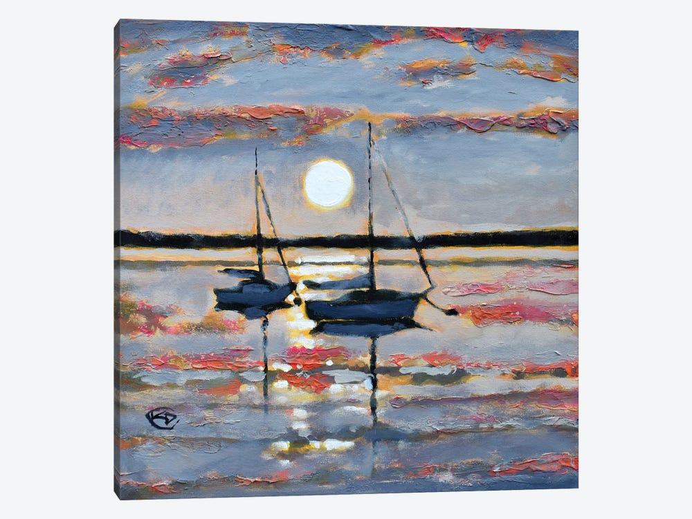 Full Moon Sailboats by Kip Decker 1-piece Canvas Artwork