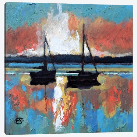 Sunrise On The Bay 3-Piece Canvas #KIP67} by Kip Decker Canvas Print