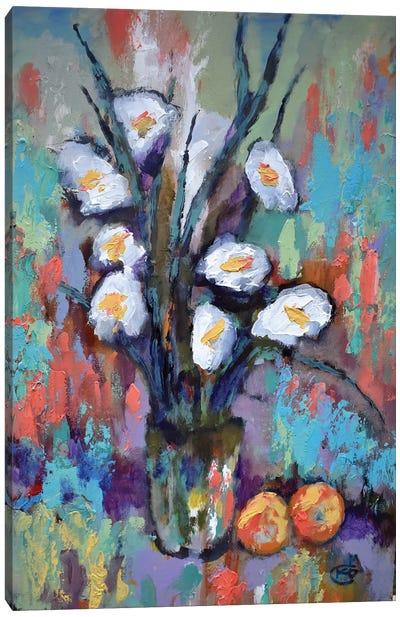 Gladiolas And Peaches Canvas Art Print