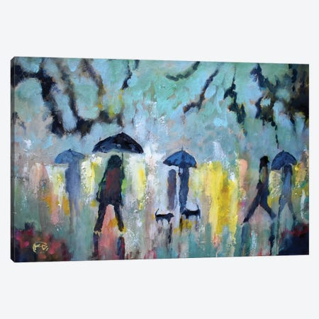Two Dachshunds In The Rain Canvas Print #KIP96} by Kip Decker Canvas Wall Art