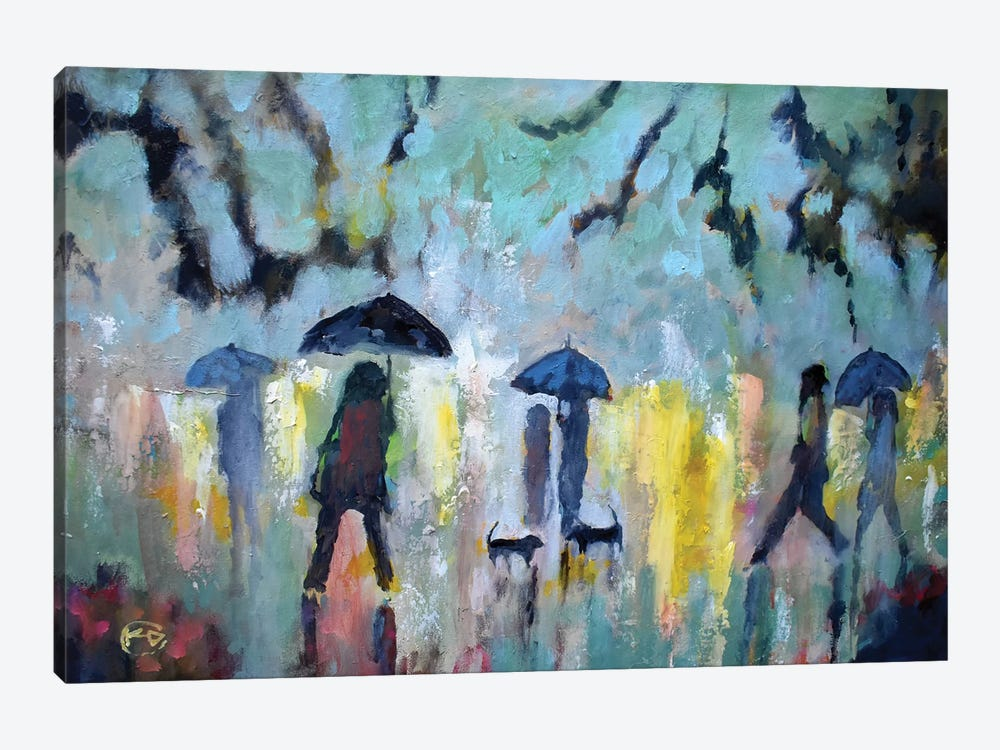 Two Dachshunds In The Rain by Kip Decker 1-piece Art Print