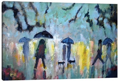 Two Dachshunds In The Rain Canvas Art Print