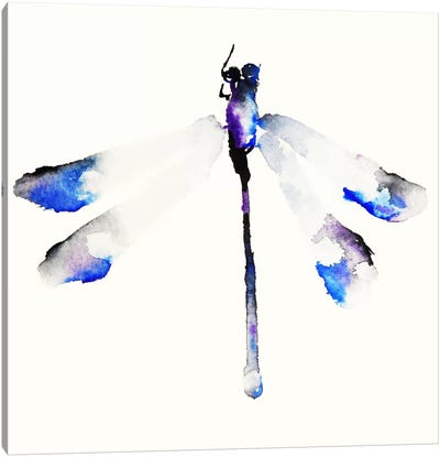 Blue & Violet Dragonfly Canvas Art Print
